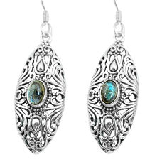 925 sterling silver 3.62cts natural blue labradorite dangle earrings p64874