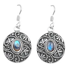 925 sterling silver 3.34cts natural blue labradorite dangle earrings p64900