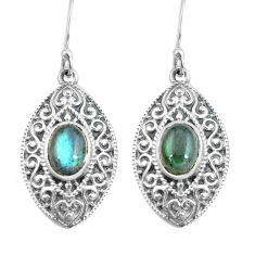 925 sterling silver 4.52cts natural blue labradorite dangle earrings p64974