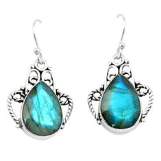 925 sterling silver 12.47cts natural blue labradorite dangle earrings p66484