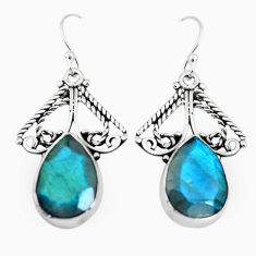 925 sterling silver 12.36cts natural blue labradorite dangle earrings p66496
