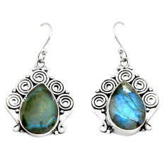 925 sterling silver 13.46cts natural blue labradorite dangle earrings p70364