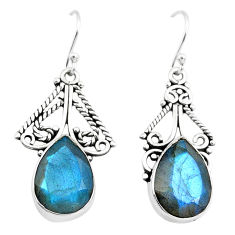 925 sterling silver 12.71cts natural blue labradorite dangle earrings p70368