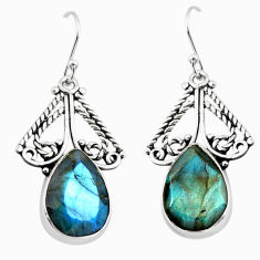 925 sterling silver 13.05cts natural blue labradorite dangle earrings p70372