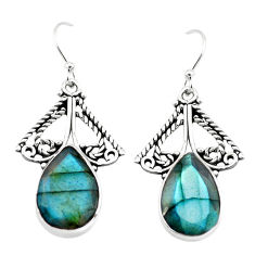925 sterling silver 11.89cts natural blue labradorite dangle earrings p70375