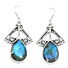 925 sterling silver 13.26cts natural blue labradorite dangle earrings p70379