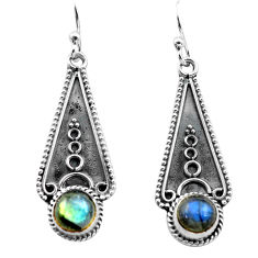 925 sterling silver 2.99cts natural blue labradorite dangle earrings p81328