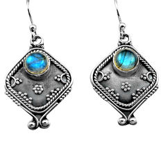 925 sterling silver 2.88cts natural blue labradorite dangle earrings p81334