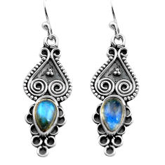 925 sterling silver 2.93cts natural blue labradorite dangle earrings p81356