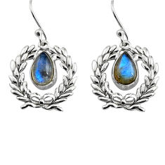 925 sterling silver 4.30cts natural blue labradorite dangle earrings p84944