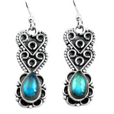 925 sterling silver 3.51cts natural blue labradorite dangle earrings p87564
