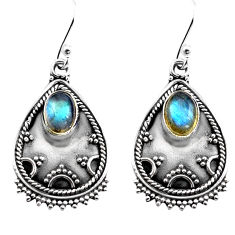 925 sterling silver 3.42cts natural blue labradorite dangle earrings p87578