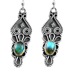 925 sterling silver 3.29cts natural blue labradorite dangle earrings p87584