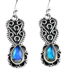 925 sterling silver 3.51cts natural blue labradorite dangle earrings p87588