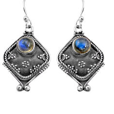 925 sterling silver 2.97cts natural blue labradorite dangle earrings p91324