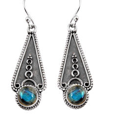 925 sterling silver 2.72cts natural blue labradorite dangle earrings p91339