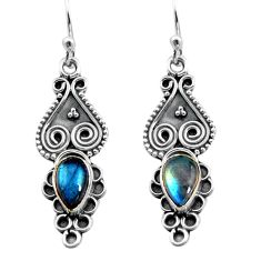 925 sterling silver 3.29cts natural blue labradorite dangle earrings p91344
