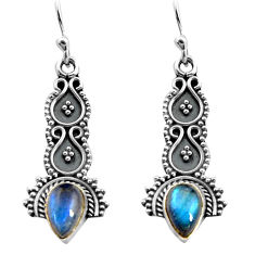 925 sterling silver 3.52cts natural blue labradorite dangle earrings p91355