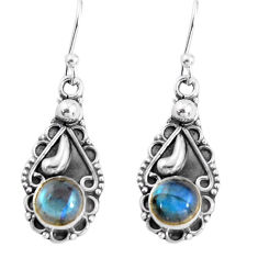 925 sterling silver 2.27cts natural blue labradorite dangle earrings p91388