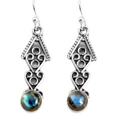 925 sterling silver 2.58cts natural blue labradorite dangle earrings p91397