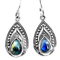 925 sterling silver 4.92cts natural blue labradorite earrings jewelry p34407