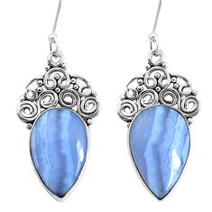 925 sterling silver 14.72cts natural blue lace agate dangle earrings p34947