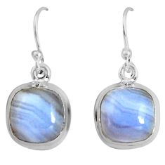 925 sterling silver 9.37cts natural blue lace agate dangle earrings p89313