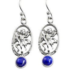 925 sterling silver 2.03cts natural blue lapis lazuli angel earrings p84948