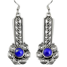 925 sterling silver 2.63cts natural blue lapis lazuli dangle earrings d32427