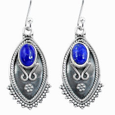 925 sterling silver 4.04cts natural blue lapis lazuli dangle earrings d32495