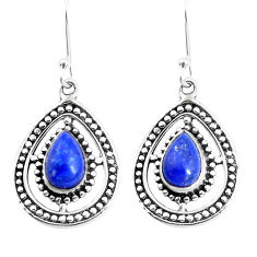 925 sterling silver 5.31cts natural blue lapis lazuli dangle earrings p39311