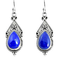 925 sterling silver 7.04cts natural blue lapis lazuli dangle earrings p52765