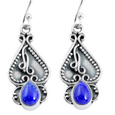 925 sterling silver 3.23cts natural blue lapis lazuli dangle earrings p60164