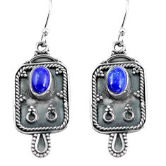 925 sterling silver 3.62cts natural blue lapis lazuli dangle earrings p60820