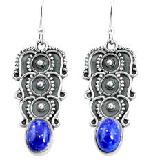 925 sterling silver 3.14cts natural blue lapis lazuli dangle earrings p68000