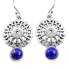 925 sterling silver 5.08cts natural blue lapis lazuli dangle earrings p84912