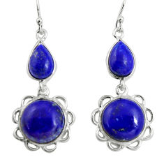925 sterling silver 18.14cts natural blue lapis lazuli dangle earrings p89284