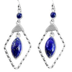 925 sterling silver 14.23cts natural blue lapis lazuli dangle earrings p90011