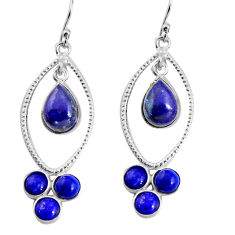 925 sterling silver 10.41cts natural blue lapis lazuli dangle earrings p91538
