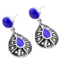 925 sterling silver 7.30cts natural blue lapis lazuli earrings jewelry c4588