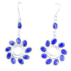 925 sterling silver 18.17cts natural blue sapphire dangle earrings p60503