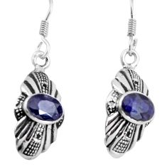 925 sterling silver 4.24cts natural blue sapphire earrings jewelry d32571