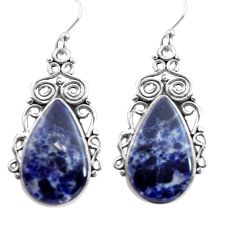925 sterling silver 18.46cts natural blue sodalite dangle earrings p72608