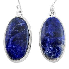 925 sterling silver 24.00cts natural blue sodalite dangle earrings p88755
