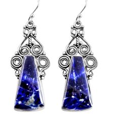 925 sterling silver 19.82cts natural blue sodalite dangle earrings p91955