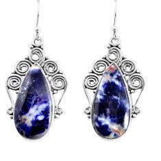 925 sterling silver 19.27cts natural blue sodalite dangle earrings p91959