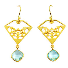 925 sterling silver 8.44cts natural blue topaz 14k gold dangle earrings p87420