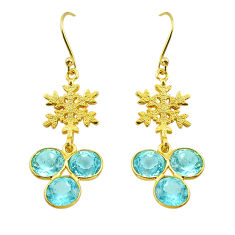 925 sterling silver 12.22cts natural blue topaz 14k gold dangle earrings p91295