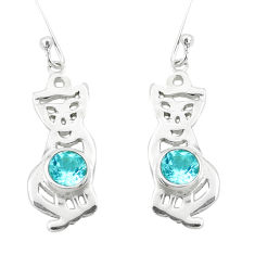 925 sterling silver 2.36cts natural blue topaz cat earrings jewelry p40251