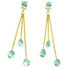 925 sterling silver 12.55cts natural blue topaz chandelier earrings p87454